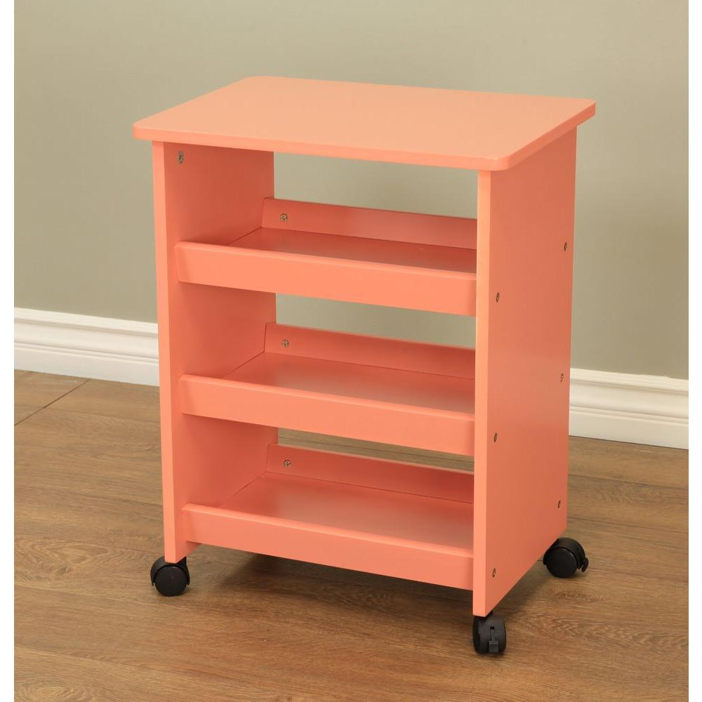 MegaHome 4 Wheeled Rolling Storage Table In Orange