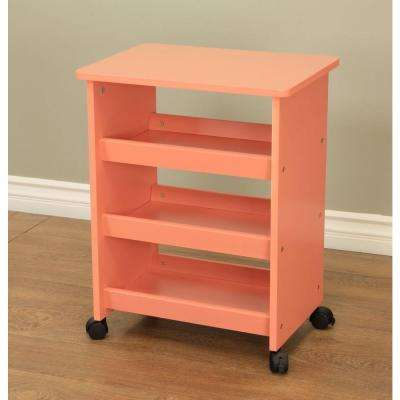4-Wheeled Rolling Storage Table in Orange
