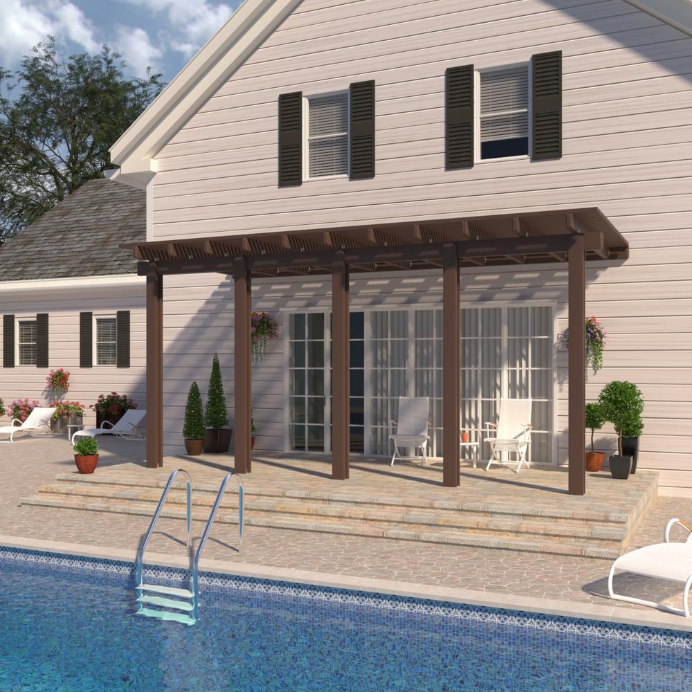 22 ft. x 10 ft. Brown Aluminum Attached Open Lattice Pergola with 5 Posts Maximum Roof Load 20 lbs.