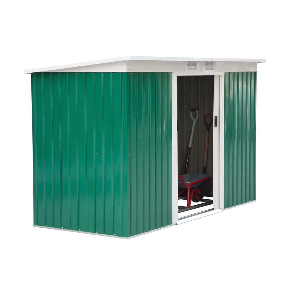 Multi-Shelves Pine Wood Outsunny 4-Door Tool Storage Shed Lockable Garden Organizer