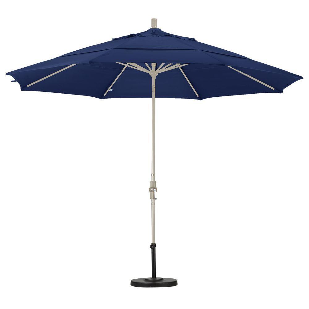 California Umbrella 11 Ft Fibergl Collar Tilt Double Vented Patio In Navy Blue Olefin