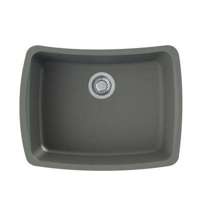 Genova Undermount Granite 25 in. Single Bowl Kitchen Sink in Grey
