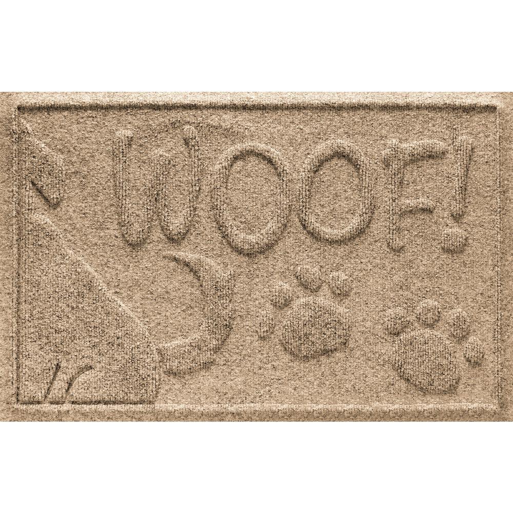 Khaki 18 in. x 28 in. Wag the Dog Polypropylene Pet Mat