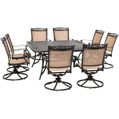 Fontana 9-Piece Aluminum Outdoor Dining Set with 8 Sling Swivel Rockers and a 60 in. Square Cast-Top Table