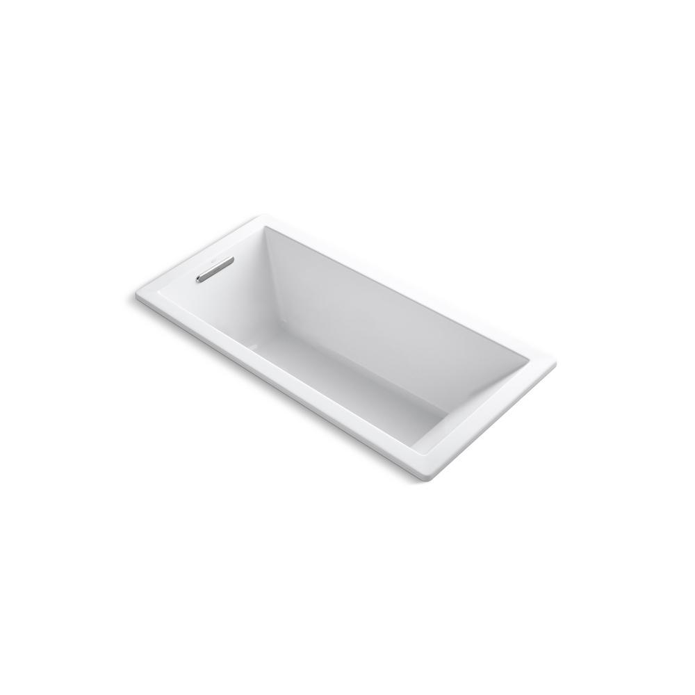 Underscore 66 in. Rectangular Drop-in Bathtub in White