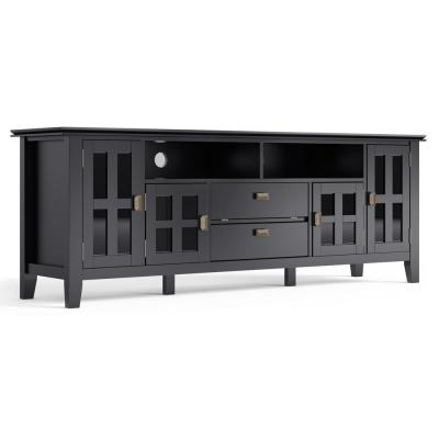 Artisan Solid Wood 72 in. Wide Contemporary TV Media Stand in Black For TVs up to 80 in.