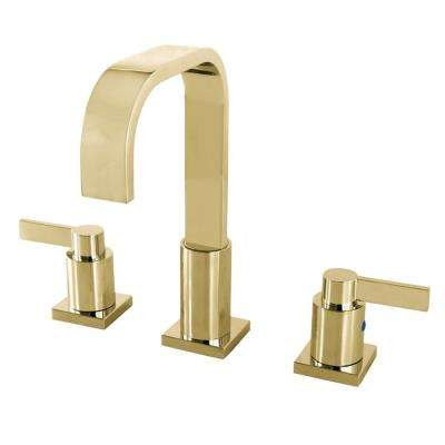 NuvoFushion 8 in. Widespread 2-Handle High-Arc Bathroom Faucet in Polished Brass