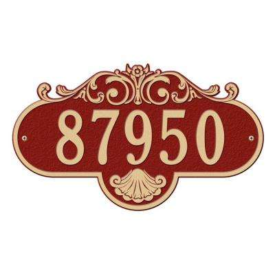 Oval Rochelle Grande Wall 1-Line Address Plaque - Red/Gold