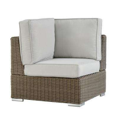 Camari Mocha Wicker Corner Outdoor Sectional Chair with Beige Cushion