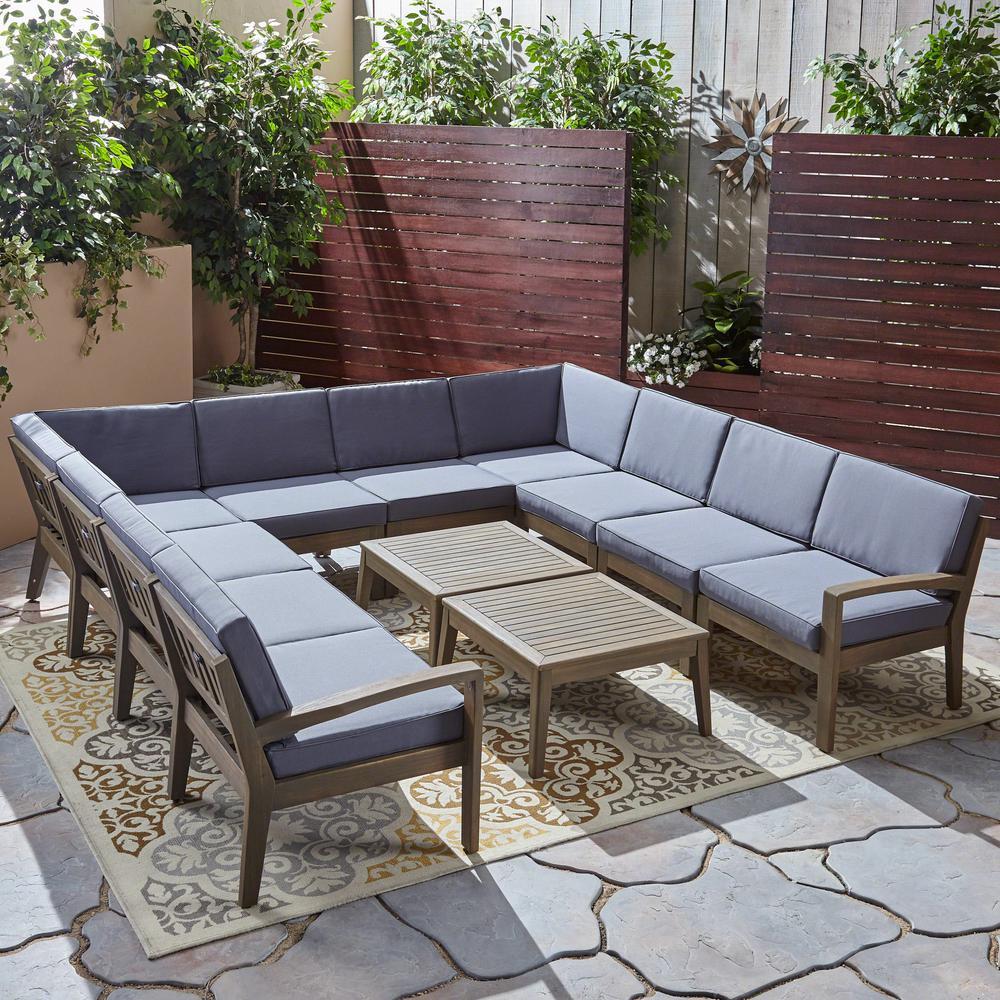 Grenada Teak Brown 12-Piece Wood Patio Conversation Set with Dark Grey Cushions