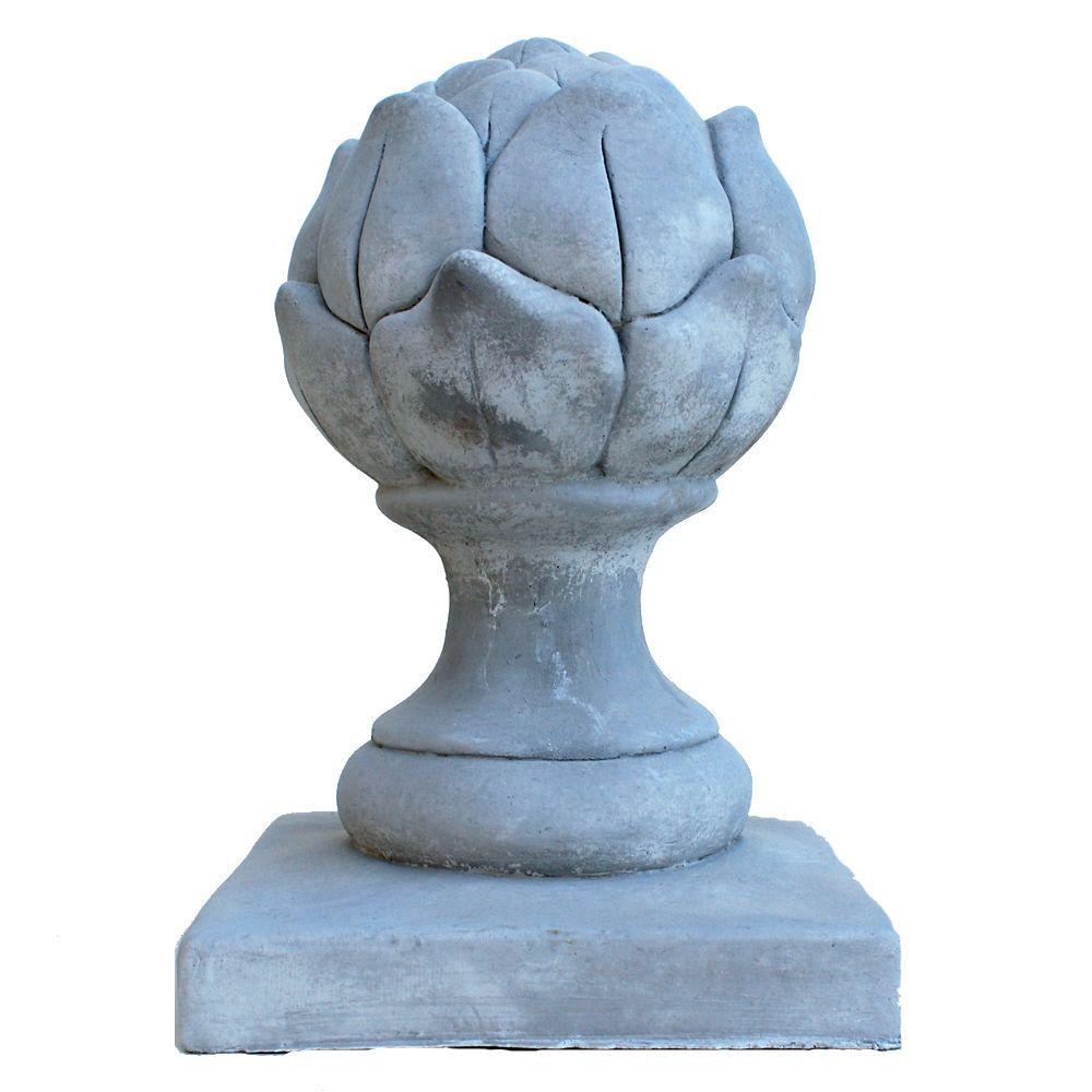 Cast Stone Artichoke Finial Antique Gray