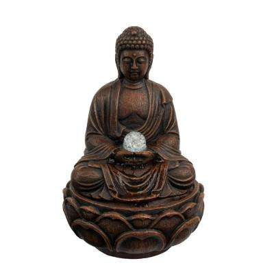 11.5 in. Indoor Sitting Buddha Statue Waterfall Tabletop Water Fountain with LED Lights