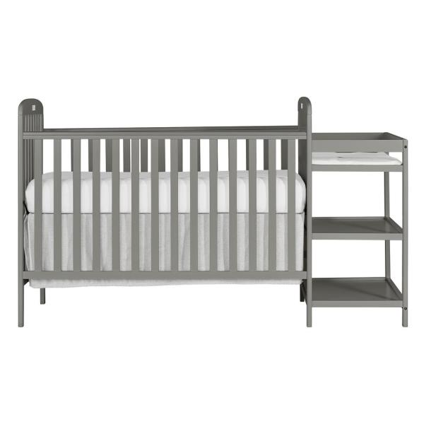 Anna 4-in-1 Steel Grey Full Size Crib and Changing Table Combo