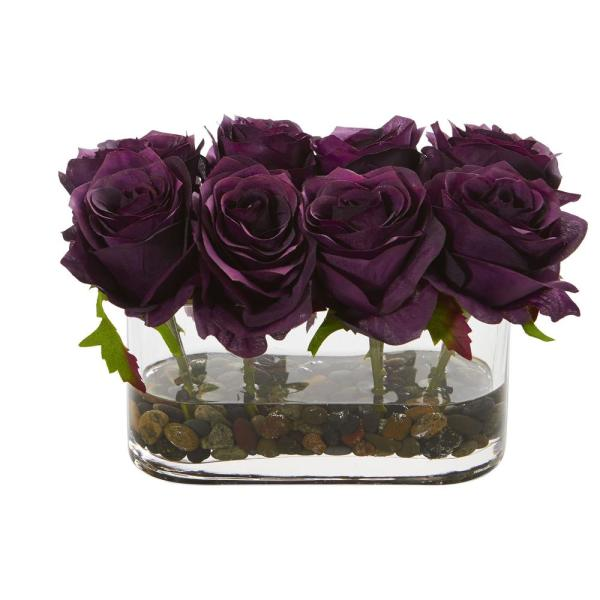Nearly Natural 5.5 in. High Purple Roses Blooming Roses in Glass