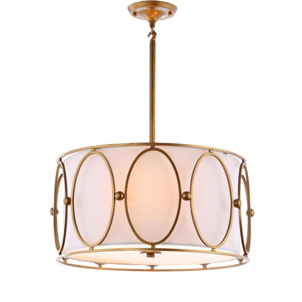 JONATHAN Y Violetta 19 in. 3-Light Gold/White Metal Pendant