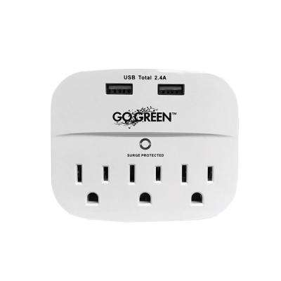 3-Outlet Wall Tap with USB/Surge