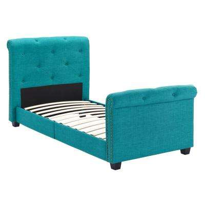 Addie Youth Twin Teal Upholstered Bed