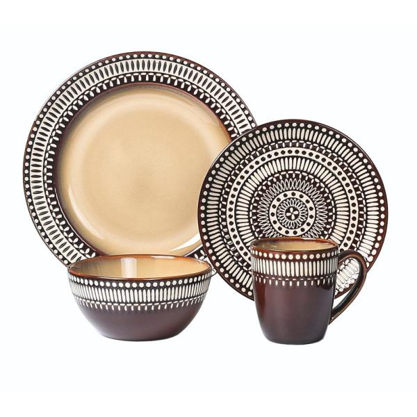 16-Piece Casual Rust Stoneware Dinnerware Set (Service for 4)