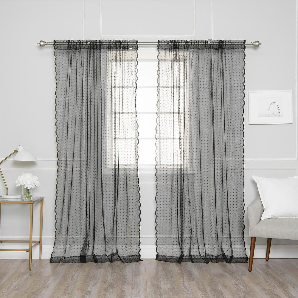 L Black Sheer Lace Dot Curtain Panel (2 Pack)