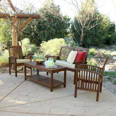 Boardwalk 4-Piece Dark Brown Acacia Outdoor Conversation Set with Cushions