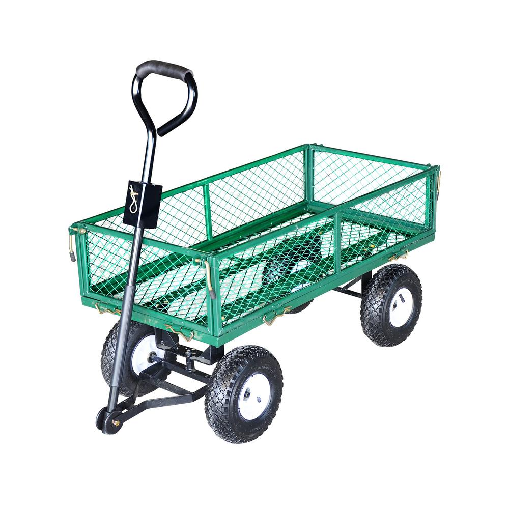 Steel Core 330 lb.Capacity Heavy Duty Steel Utility and Yard Cart with Removable Mesh Sides