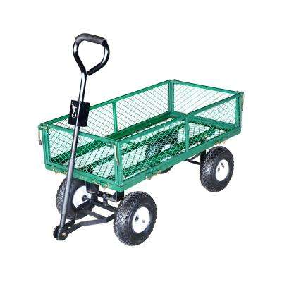 330 lb.Capacity Heavy Duty Steel Utility and Yard Cart with Removable Mesh Sides