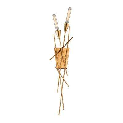 Sticks 2-Light Antique Gold Leaf Wall Sconce