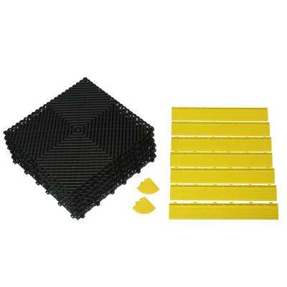34 in. x 52 in. Rubber Modular Anti-Fatigue Work Mat with Yellow Edging