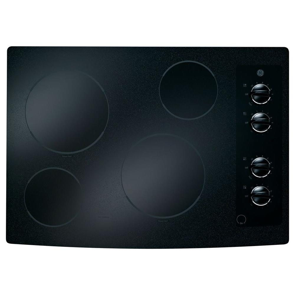 GE 30 in. Ceramic Glass Electric Cooktop in Black with 4 Elements including PowerBoil