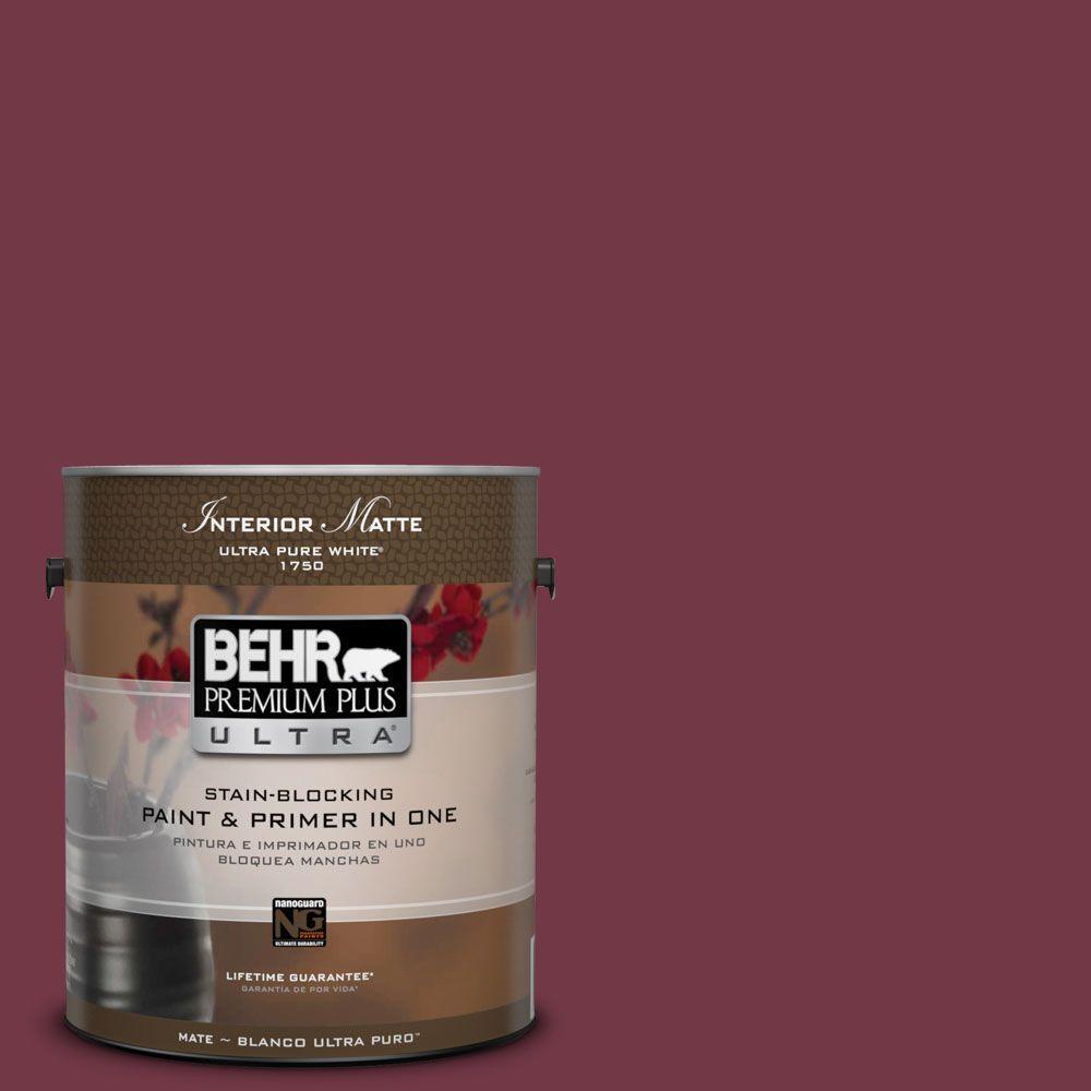 1 gal. #ICC-110 Vintage Merlot Matte Interior Paint and Primer in