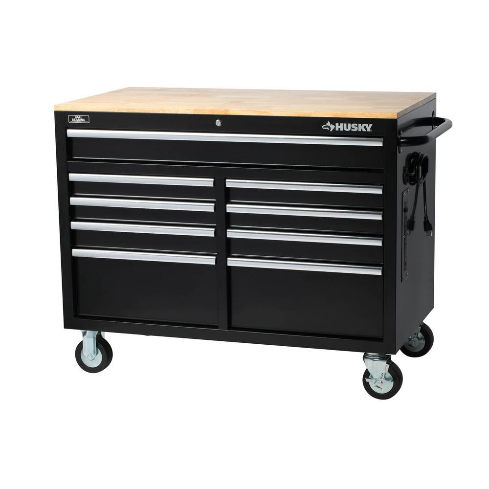 Husky 46 in. 9-Drawer Mobile Workbench in Black