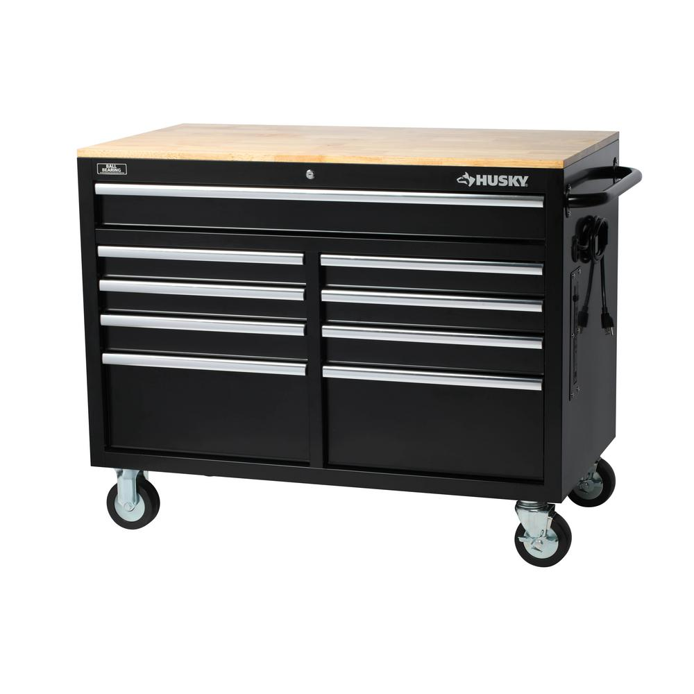 Husky 46 in. W x 24.5 in. D 9-Drawer Tool Chest Mobile Workbench with Solid Wood Top in Black