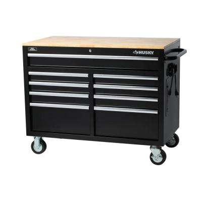 46 in. W x 24.5 in. D 9-Drawer Tool Chest Mobile Workbench with Solid Wood Top in Black
