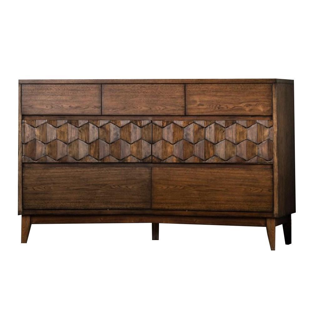 Kallisto 7-Drawers 19 in. D x 60 in. W x 36 in. H Chestnut Brown Dresser