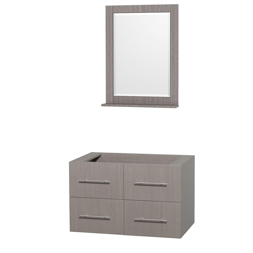 Centra 35 in. Vanity Cabinet with Mirror in Gray Oak
