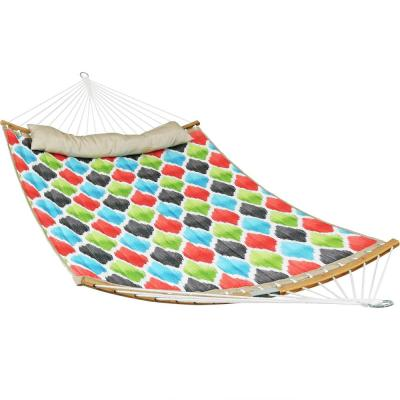 11.4 ft. Quilted Hammock Bed with 2-Piece Pull-Apart Curved Bamboo Spreader Bars in Vivid Multi-Color Quatrefoil