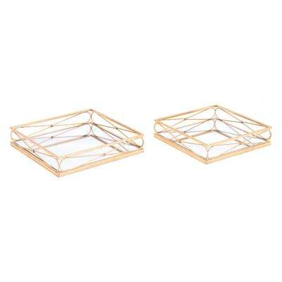 Twisted Gold Trays (Set of 2)