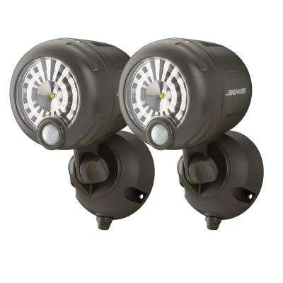 Wireless 120-Degree Bronze Motion Sensing Outdoor Integrated LED Security Spot Light (2-Pack)