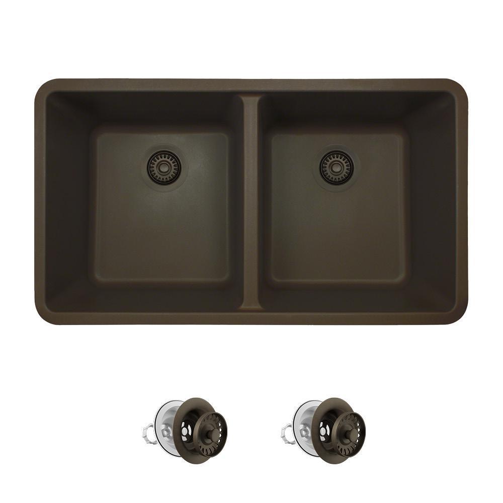 All-in-One Undermount Quartz 32.5 in. 0-Hole Double Bowl Kitchen Sink in Mocha