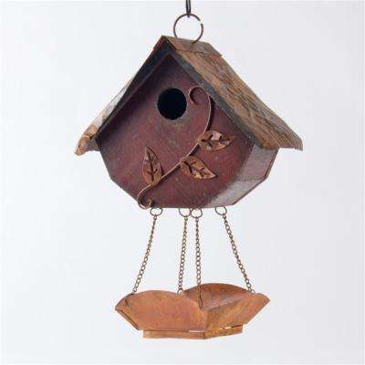 12.91 in. H Distressed Solid Wood Birdhouse with Bird Bath