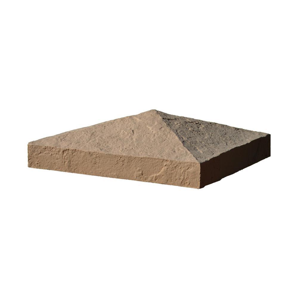 Slatestone 10-1/2 in. x 10-1/2 in. x 3-1/2 in. Brown Faux Polyurethane Stone Post Cover Cap