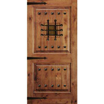 42 in. x 80 in. Mediterranean Knotty Alder Square Top Unfinished Single Right-Hand Inswing Prehung Front Door