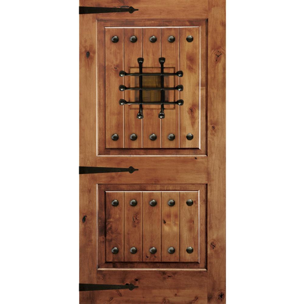 Krosswood Doors 48 in. x 96 in. Mediterranean Knotty Alder Square Top Unfinished Single Left-Hand Inswing Prehung Front Door