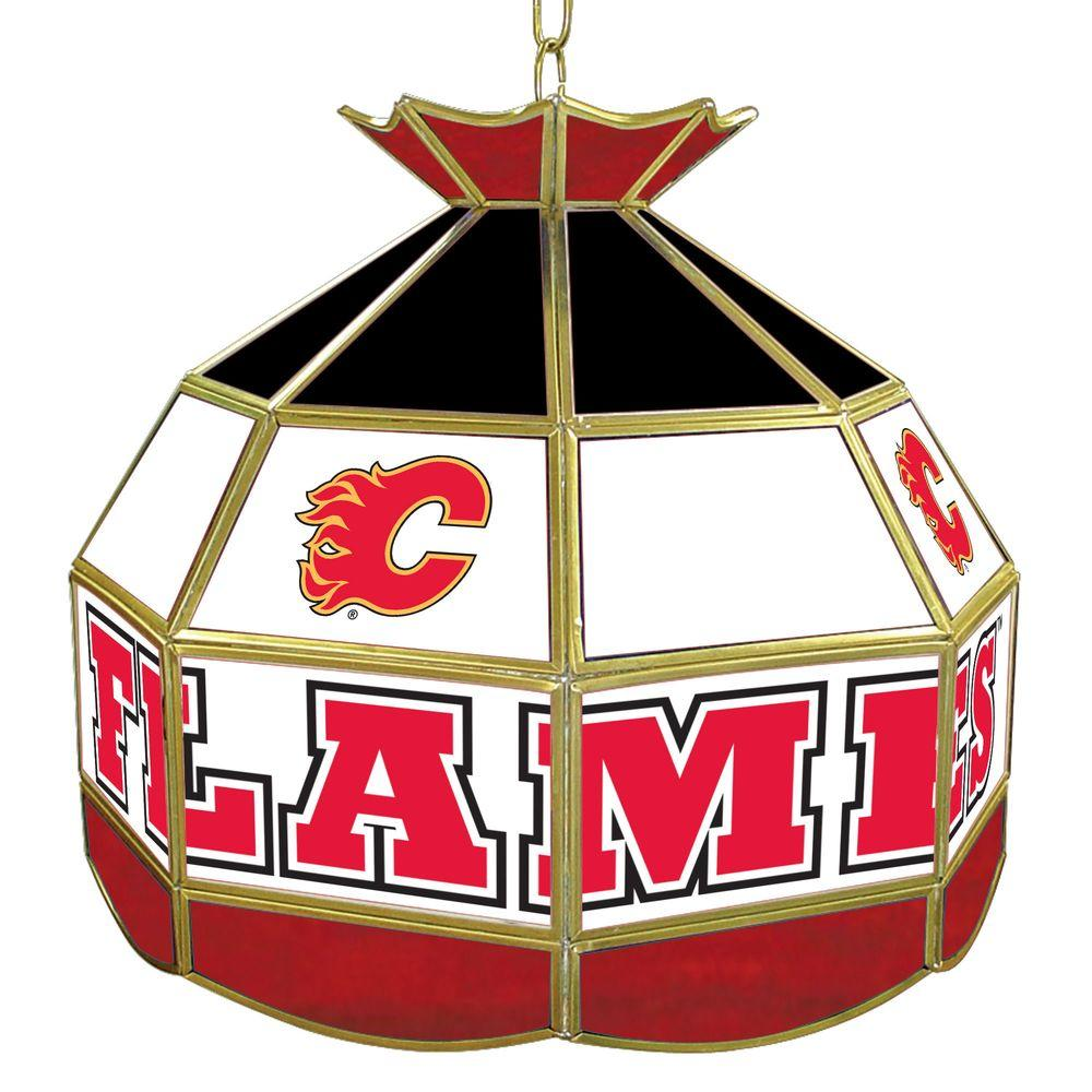 Trademark NHL Calgary Flames 16 in. Gold Hanging Tiffany Style Billiard Lamp
