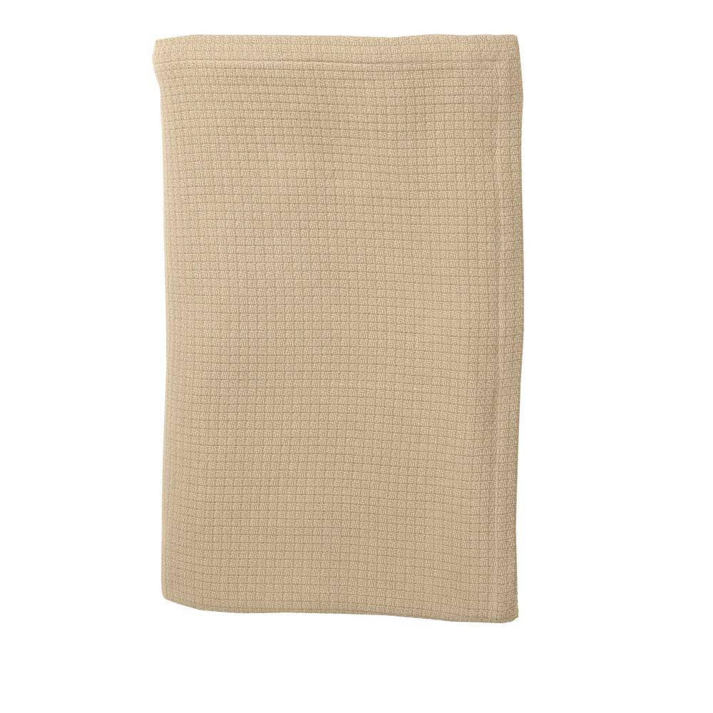 Cotton Weave Sand Twin Blanket