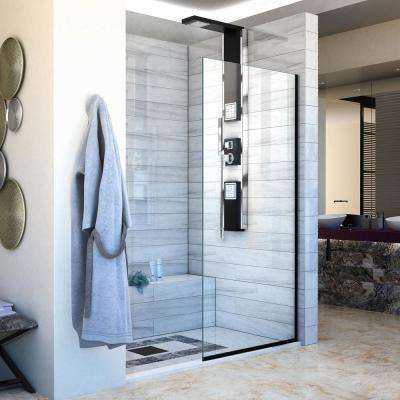 Linea 30 in. x 72 in. Semi-Frameless Shower Screen in Satin Black without Handle