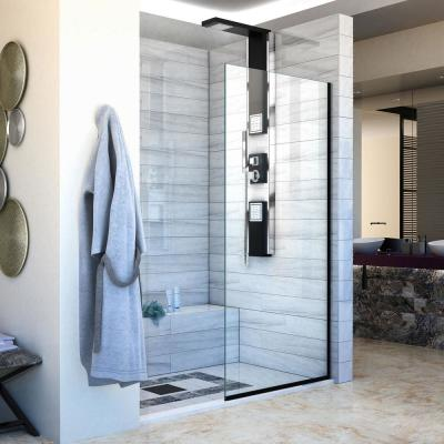 Linea 34 in. x 72 in. Semi-Frameless Fixed Shower Screen in Satin Black without Handle