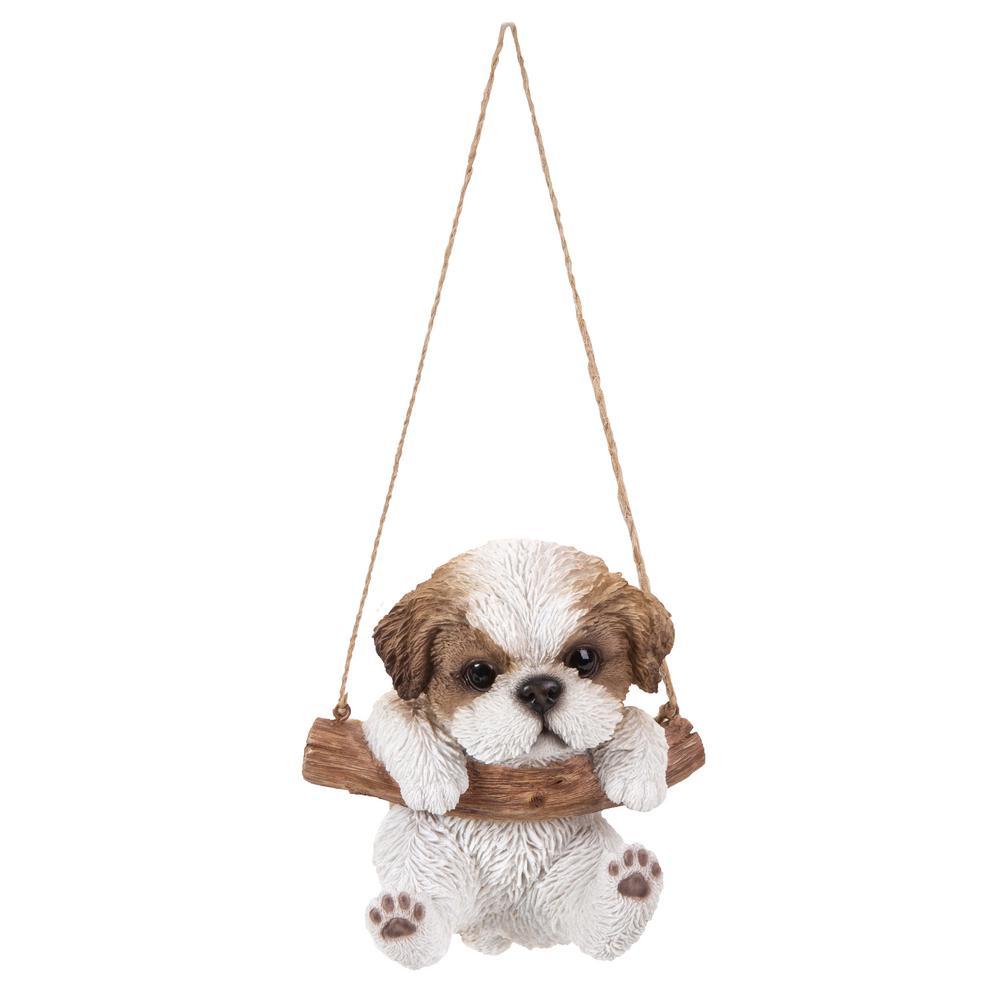 Brown/White Hanging Shih Tzu Puppy Garden Statue