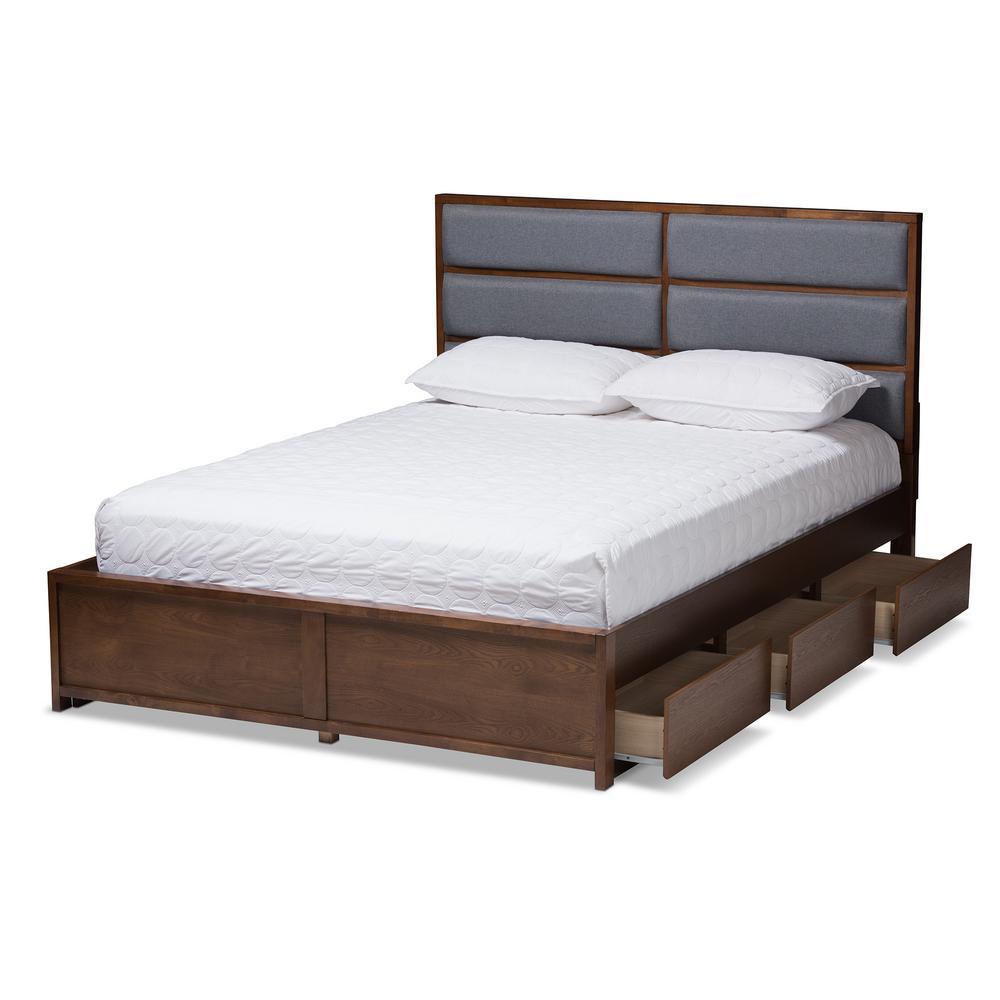 Macey Gray/Walnut Brown Queen Platform Bed