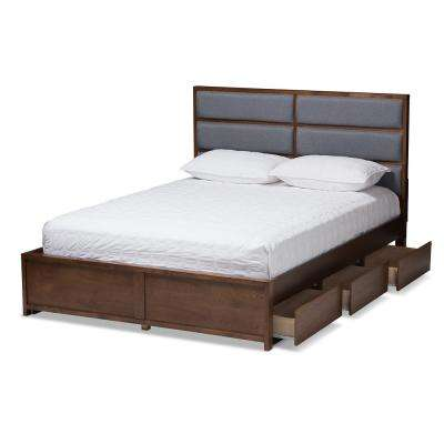 Macey Gray/Walnut Brown King Platform Bed